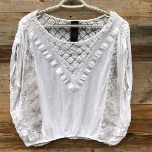 Free People   New Romantics White Lace Shirt Large